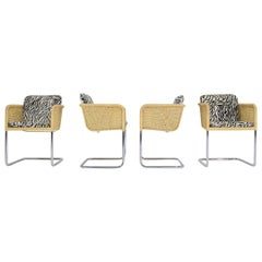 Harvey Probber Wicker Dining Chairs with Zebra Hide Cushions