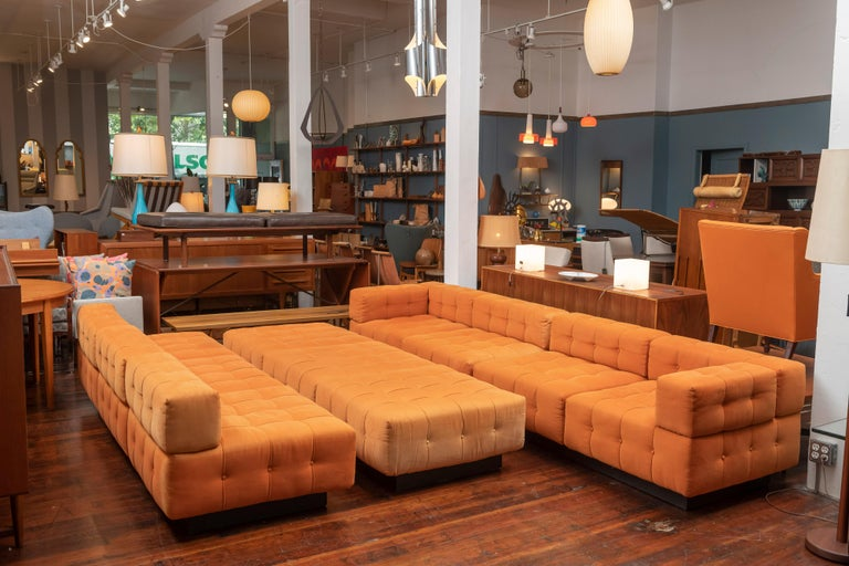 Harvey Probber design Cubo sectional sofa in very good original condition. Comprising two large individual sofas' and two single arm sofas, totaling ten sections or squares/seats. Several configurations possible from a