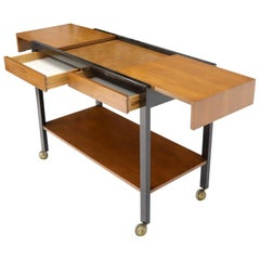 Harvey Prober Expandable Rolling Serving Two Tier Cart Table Console