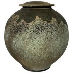 Harvey Sadow Raku Lidded Stoneware Vessel