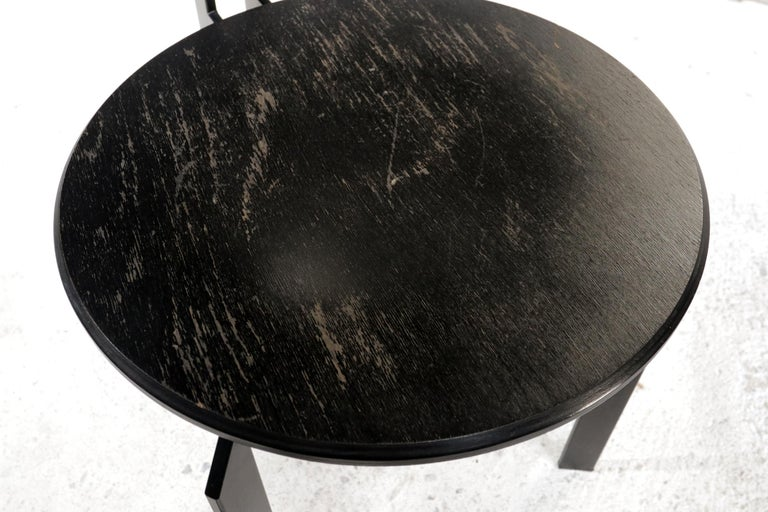 Dutch design chairs made by Harvink model Zeta Memphis style. The frames of these chairs are made of massive steel, heavy and black coated. The black seat and back is made of thick plywood and is showing light signs of wear. Typical 1980s design.