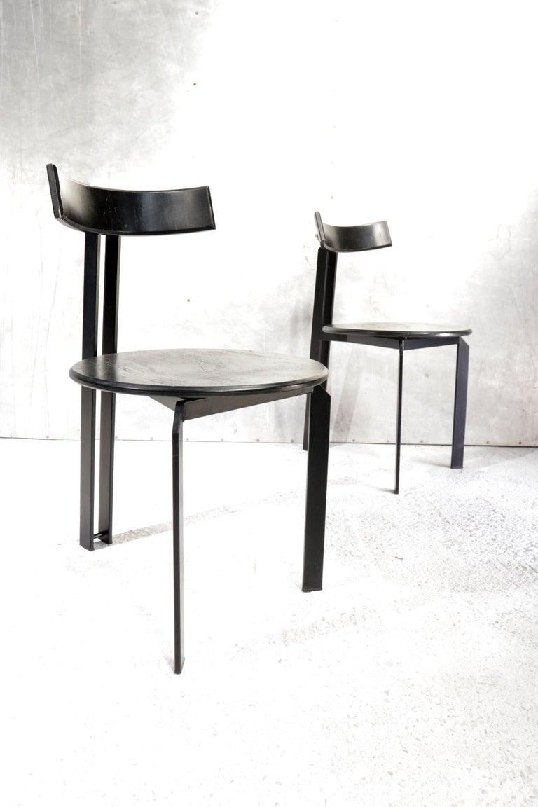 Steel Harvink Zeta Chairs Memphis Style 1980s Design For Sale