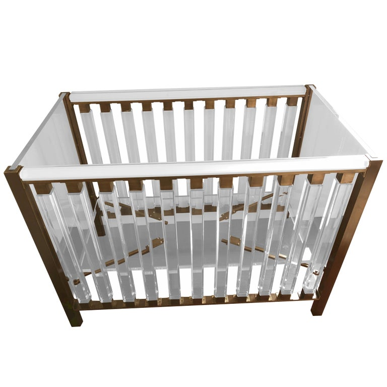 """""""Hasen"""" Baby Crib in Lucite & Brass by Cain for Cain Modern, Limited Edition For Sale"""