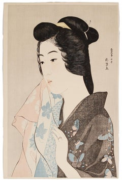 Goyo Hashiguchi, Shin Hanga, Original Japanese Woodblock Print, Bath, Pastel