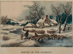 """Winter in the Country,"" Hand-colored Original Lithograph by Haskell & Allen"