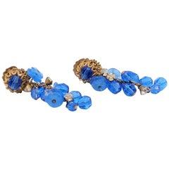 Haskell Blue Dangle Earrings 1960s
