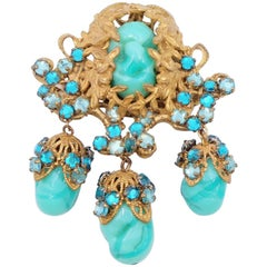 Haskell Frank Hess Dangle Brooch With Green Beads 1960s