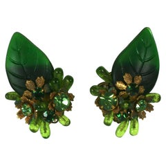 Haskell Style Glass Leaf Earrings