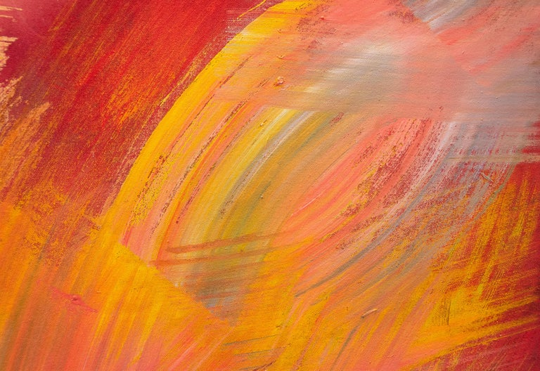 A painting by Hassel Smith. This Untitled, gestural abstract, acrylic on canvas painting, is executed in a deep and lush palette primarily of maroons, red, yellows, oranges, pinks and white by Post War artist Hassel Smith. Incorporating his love of