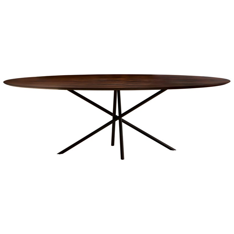 """Hastes"" Modernist Dining Table Black Steel and Pau Ferro Brazilian Wood For Sale"