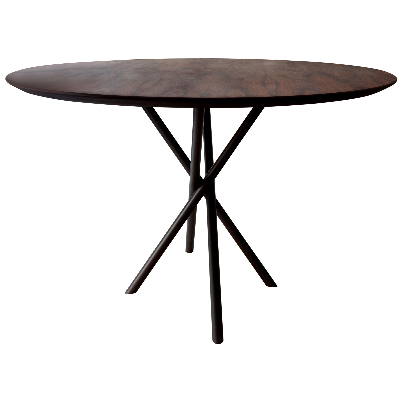 """Hastes"" Modernist Round Dining Table Black Steel and Pau Ferro Brazilian Wood"