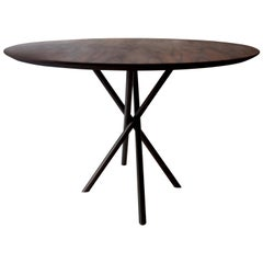 """Hastes"" Modernist Round Dining Table Black Steel and Pau Ferro Brazilian Wood"