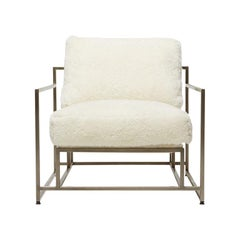Ivory Shearling & Antique Nickel Armchair