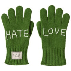 Hate Love Green Gloves by Saved, New York