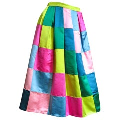 Hattie Carnegie 1950s Silk Color Block Skirt