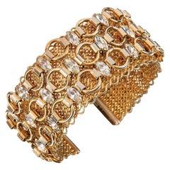 Hattie Carnegie 1960s Gold Marquise Crystal Rhinestone Wide Cuff Bracelet