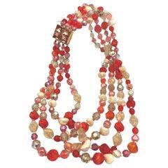 Hattie Carnegie 4 row necklace orange beige 1980s USA