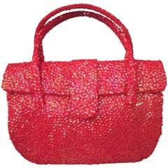 Hattie Carnegie Coral Sequin Top Handle Evening Bag