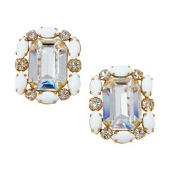 Hattie Carnegie Crystal Statement Earrings, Signed, circa 1950s