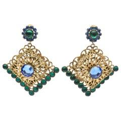 Hattie Carnegie Dangle Rhinestone Clip On Earrings Vintage Signed