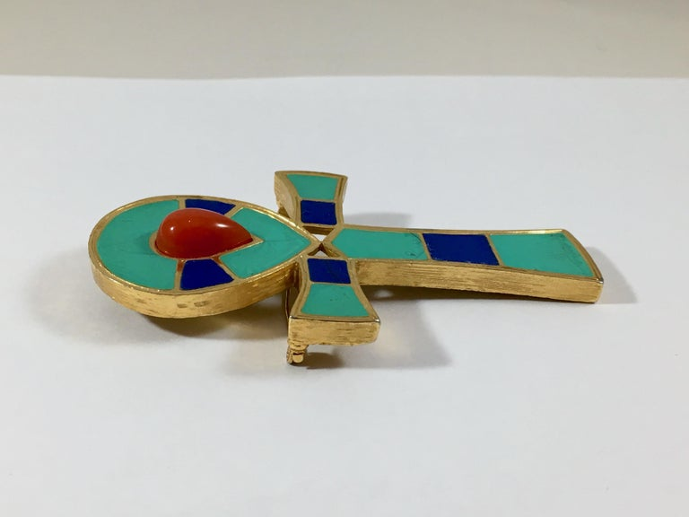 Hattie Carnegie Egyptian Ankh Pendant/Brooch 1960s For Sale 1
