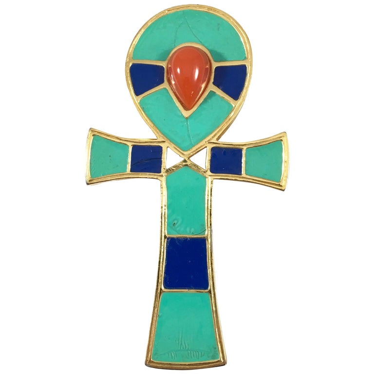 Hattie Carnegie Egyptian Ankh Pendant/Brooch 1960s For Sale