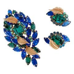 Hattie Carnegie Emerald and Sapphire Rhinestone Brooch and Earrings Demi-Parure