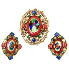 Hattie Carnegie Enamel, Rhinestone & Glass Pin Or Pendant & Earrings Set Vintage
