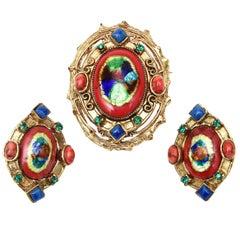 Hattie Carnegie Enamel, Rhinestone, Glass Pin Or Pendant & Earrings Set Vintage