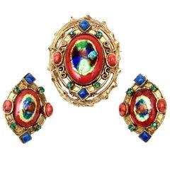 Hattie Carnegie Enamel Rhinestone Glass Pin Or Pendant & Earrings Set Vintage