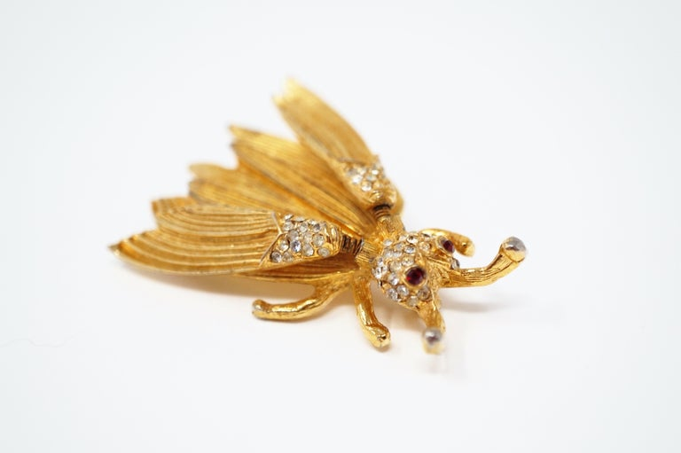 Women's Hattie Carnegie Gilded Insect Trembler Brooch, circa 1940s For Sale