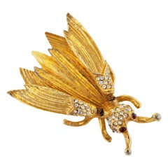 Hattie Carnegie Gilded Insect Trembler Brooch, circa 1940s