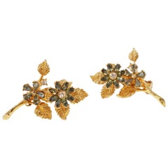 Hattie Carnegie Gilt & Rhinestone Floral Trembler Earrings, Signed, circa 1940s