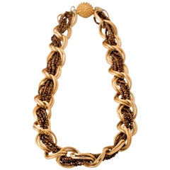 Hattie Carnegie Gold Chain and Copper Beaded Necklace