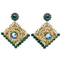 Hattie Carnegie Green & Blue Dangle Rhinestone Clip On Earrings Vintage Signed