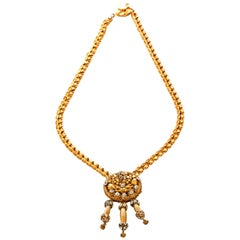 Hattie Carnegie Necklace & Earrings in Gilt Metal with Crystals
