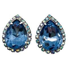 Hattie Carnegie Vintage Earrings Blue Teardrop 1950S