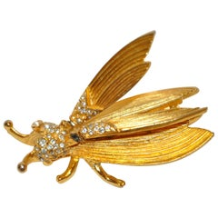 "Hattie Carnegie Whimsical ""Insect"" with Movable Wings Gilded Hardware Brooch"