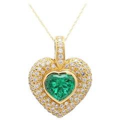 Hauer, 5.00 Carat Heart Shaped Columbian Emerald Pendant, AGL Certified