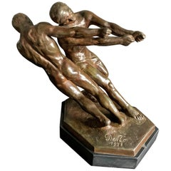 """""""Hauling In,"""" Possibly Unique Art Deco Bronze Sculpture with Male Nudes, 1931"""