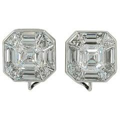 Haume Asscher Cut Diamond Stud Earrings 6.67 cts