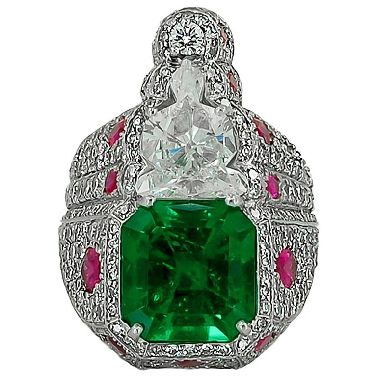 Haume Diamond, Ruby and Emerald Ring For Sale