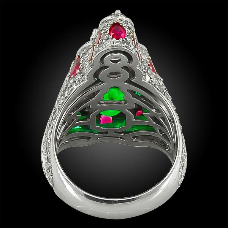 Haume Diamond, Ruby and Emerald Ring In Good Condition For Sale In New York, NY