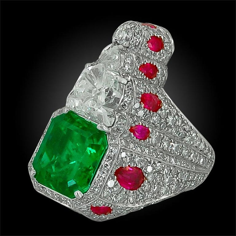 Women's Haume Diamond, Ruby and Emerald Ring For Sale