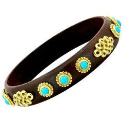 Haume Wood Turquoise Bangle Bracelet