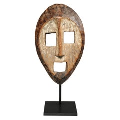 Haunting Open Square Eyed Kumu Wood Mask, Congo, Early 20th Century, Africa