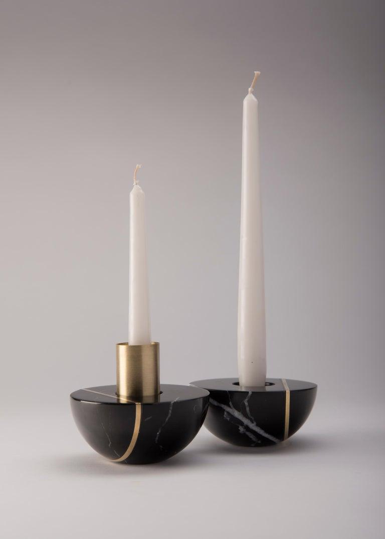 Minimalist Hauri Candleholder, Black Marble For Sale