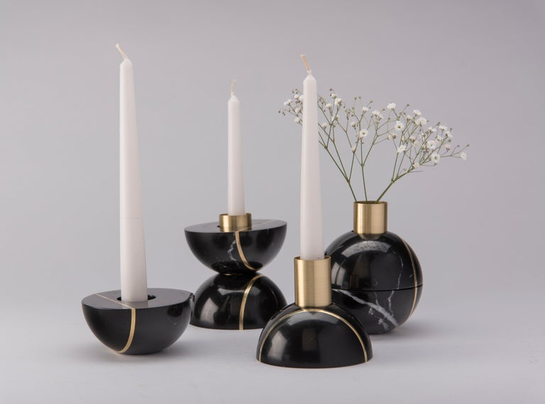 Mexican Hauri Candleholder, Black Marble For Sale