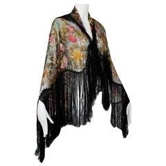 Haute Couture Black Embroidered Silk Piano Shawl Mantilla w Provenance - 1900s