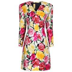 Haute Couture Christian Lacroix 1990s Colourful Rose Print Dress